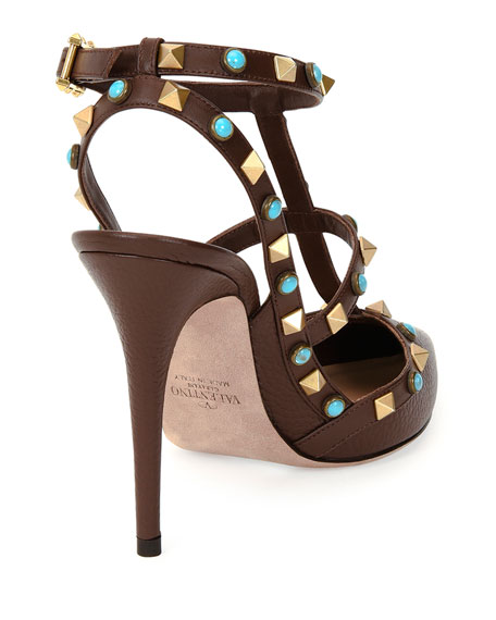 Rockstud Rolling Slingback 100mm Pump, Cacao/Turquoise