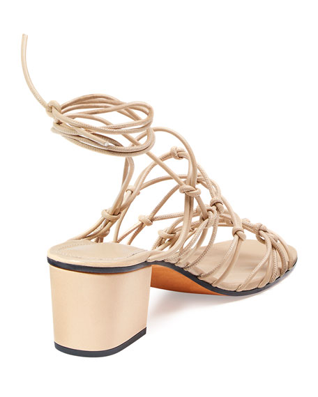Chloe Knotted Ankle-Wrap Sandal, Fawn
