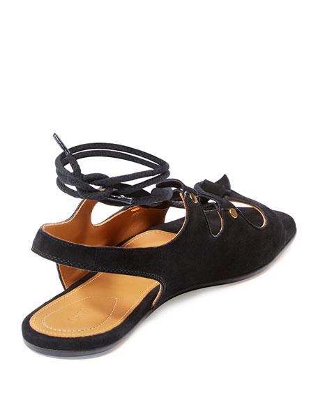 Lace-Up Slingback Gladiator Sandals, Black