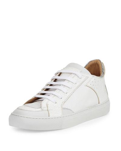 Metallic-Trim Low-Top Sneaker, White/Silver