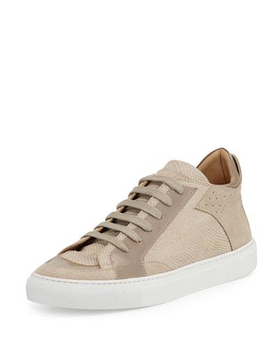 Lizard-Embossed Low-Top Sneaker, Beige/Taupe