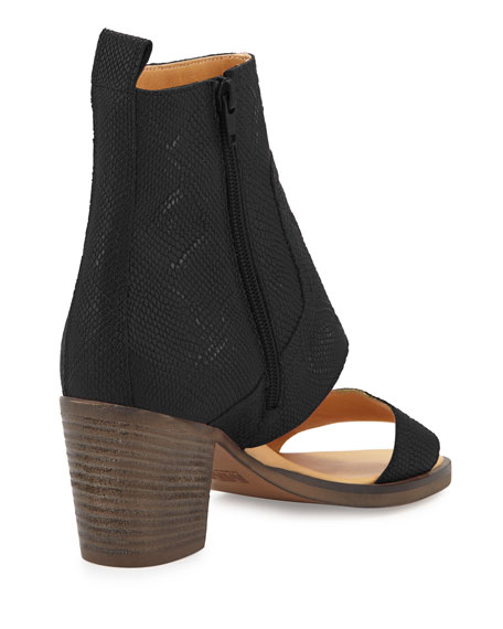 Lizard-Embossed Open-Toe Bootie, Black
