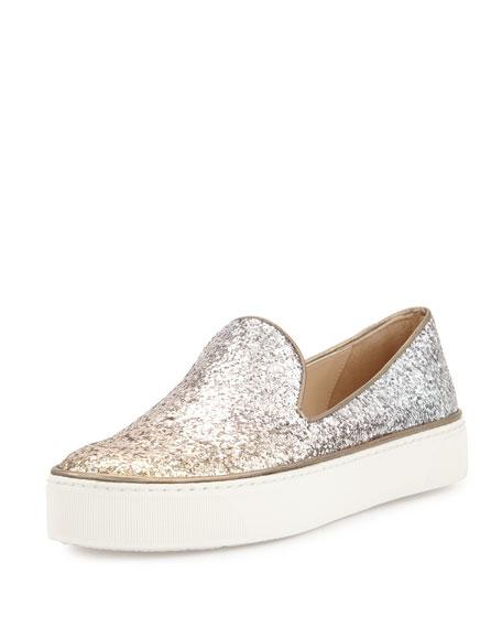 Stuart Weitzman Biarritz Glitter Fabric Slip-On Sneaker, Penny