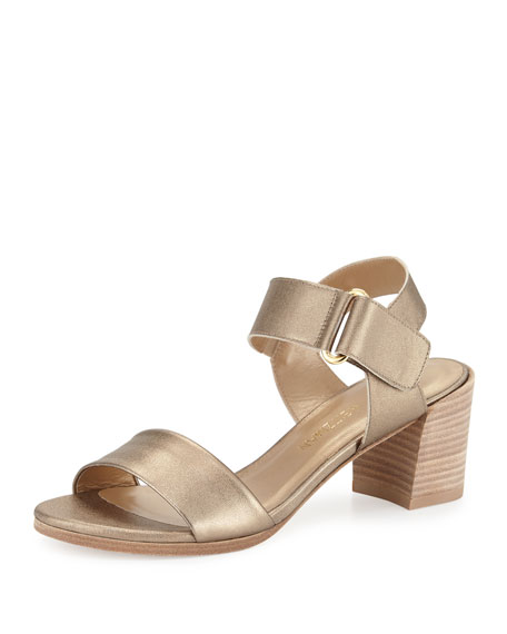 Stuart Weitzman Broadband Metallic Leather City Sandal, Ale