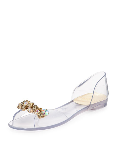 Stuart Weitzman Julibee Jeweled d'Orsay Jelly Sandal, Gold