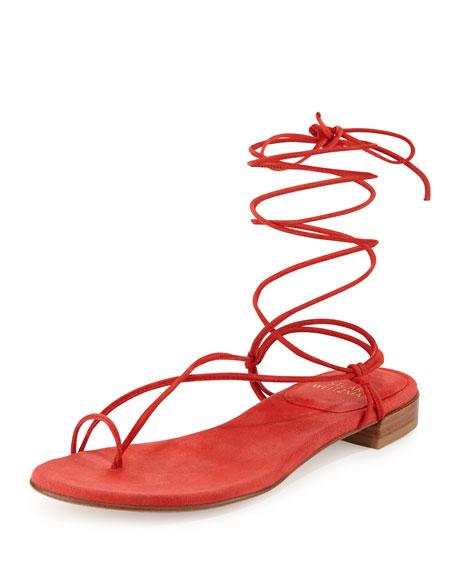Stuart Weitzman Nieta Suede Lace-Up Flat Sandal, Pimento