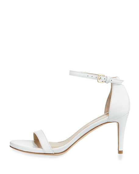 Stuart Weitzman Nunaked Leather Mid-Heel Sandal, White | Neiman Marcus
