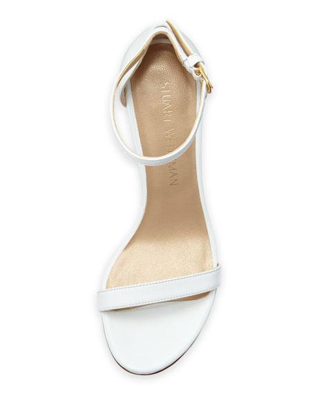 Nunaked Leather Mid-Heel Sandal, White