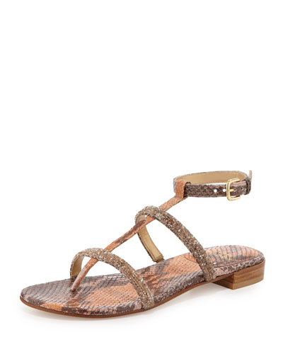 Rock-A-Long Crystal Python Sandal, Brick Ombre