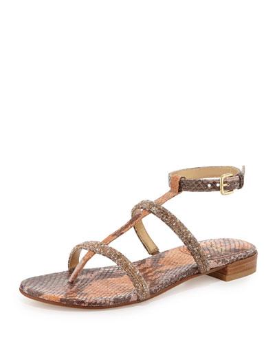 Rock-A-Long Crystal Python Sandal, Brick Ombre