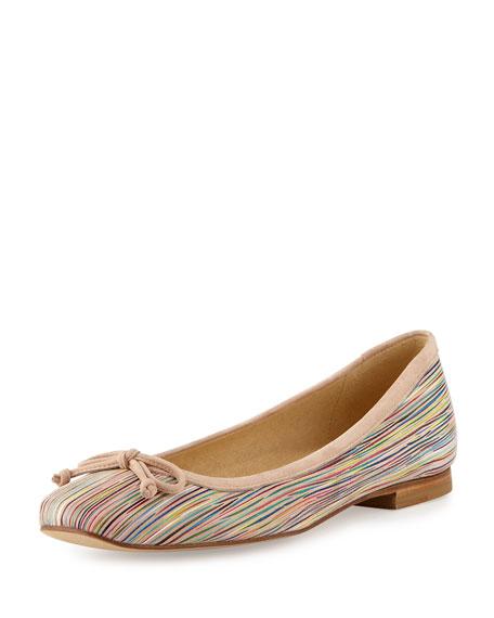 Stuart Weitzman Shoestring Striped Ballerina Flat, Bisque