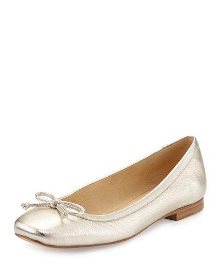 Stuart Weitzman Shoestring Metallic Leather Ballerina Flat, Pearl