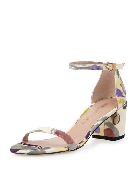 Stuart Weitzman Simple Printed Jacquard Chunky-Heel Sandal,