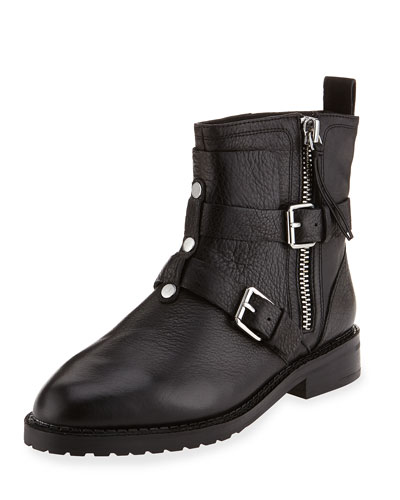 Griffin Buckle Leather Bootie, Black