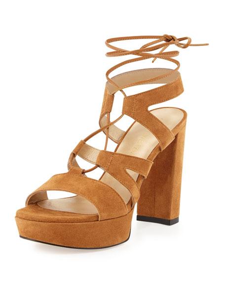 Stuart Weitzman Tie Girl Bingo Suede Platform Sandal,