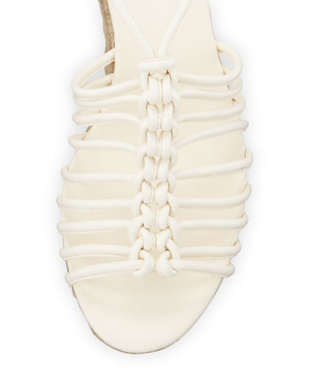 Caged Leather Espadrille Wedge Sandal, White