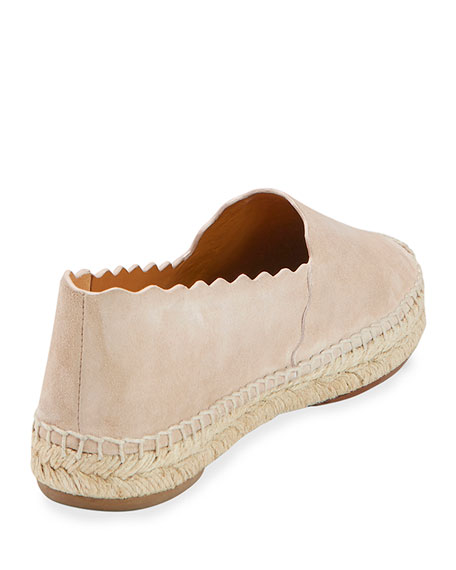 Scalloped Suede Espadrille Flat, Cream Puff