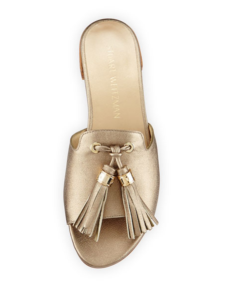 Two Tassels Leather Flat Slide Sandal, Ale