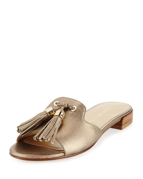 Stuart Weitzman Two Tassels Leather Flat Slide Sandal,