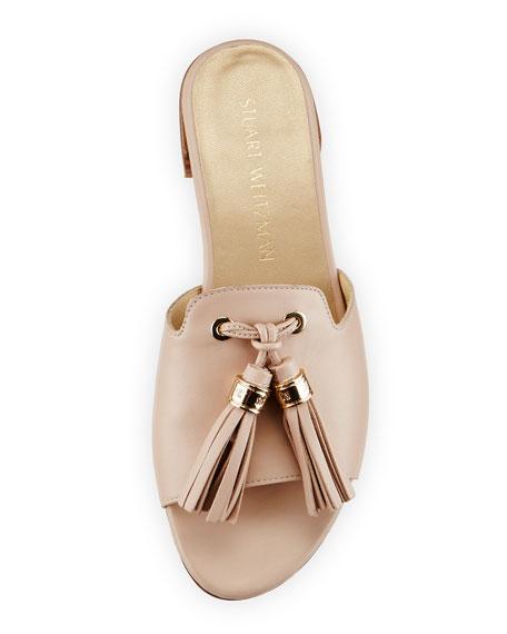 Two Tassels Leather Flat Slide Sandal, Adobe
