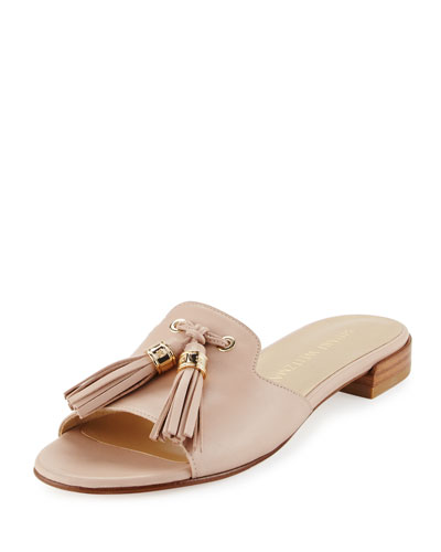 Two Tassels Leather Flat Slide Sandal, Adobe