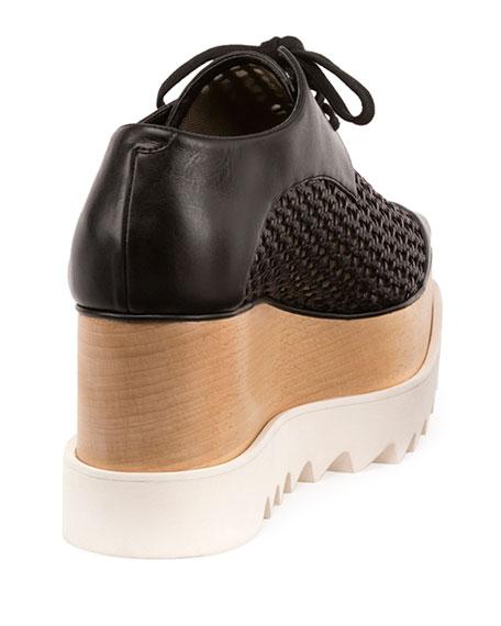 Elyse Woven Lace-Up Platform Sneaker, Black