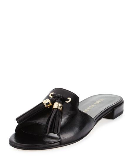 Two Tassels Leather Flat Slide Sandal, Black