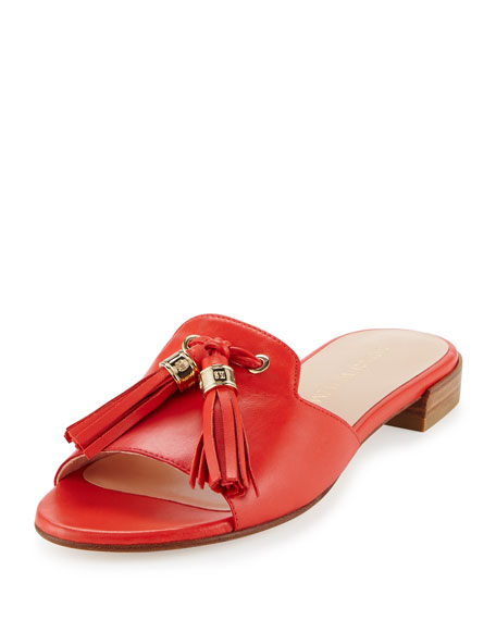 Stuart Weitzman Two Tassels Leather Flat Slide Sandal, Poppy