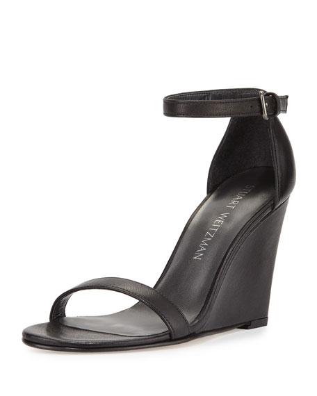 Walkway Leather Ankle-Strap Wedge Sandal, Black