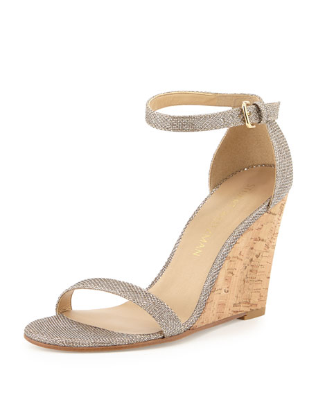 Stuart Weitzman Walkway Metallic Wedge Sandal, Platinum