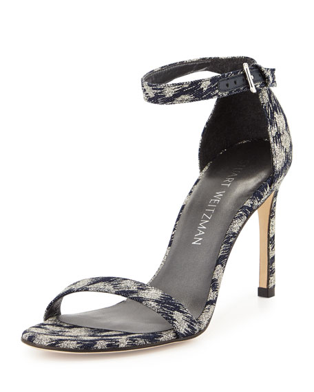Stuart Weitzman Walkway Denim Ankle-Strap Sandal, Navy Galaxy