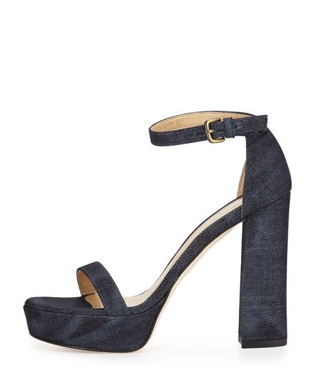 Walkway Denim Ankle-Strap Platform Sandal, Navy