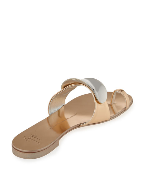 Nuvorock Metallic Flat Toe-Ring Sandal, Gold