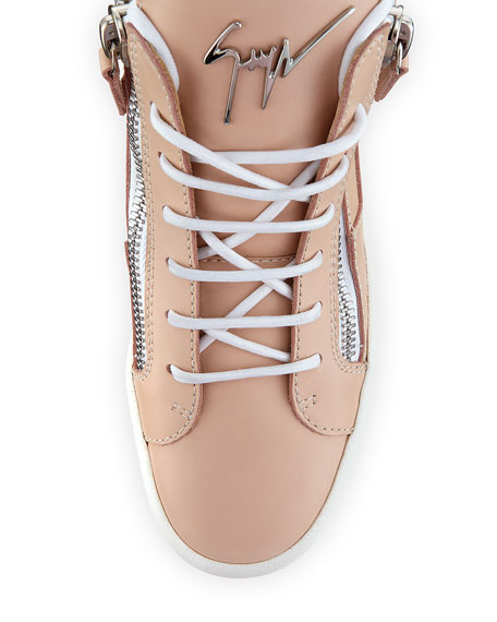 Leather High-Top Side-Zip Sneaker, Flesh