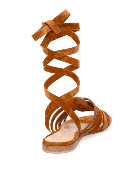 Pompei Ankle-Wrap Gladiator Sandal, Luggage