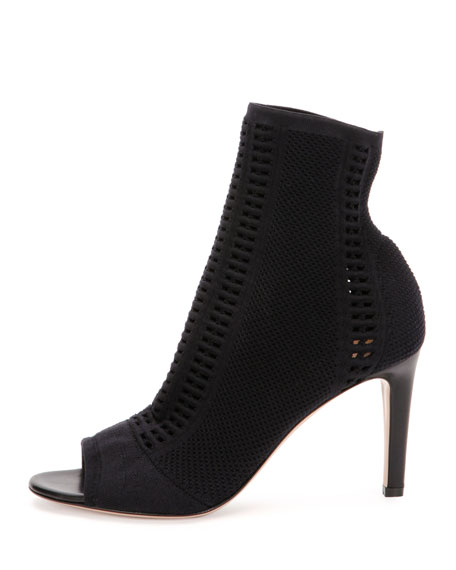 Vires Knit Open-Toe 85mm Bootie, Black