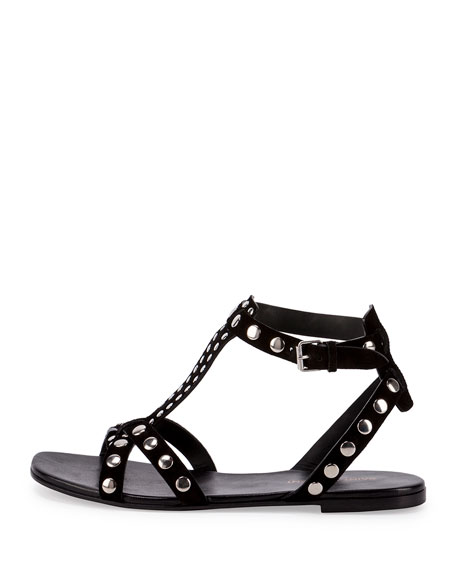 Studded Suede Flat T-Strap Sandal, Noir