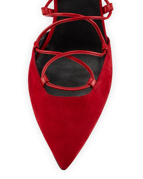 Suede Pointed-Toe Lace-Up Flat, Rouge
