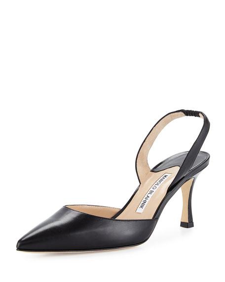 Manolo Blahnik Carolyne Leather Mid-Heel Halter Pump, Black