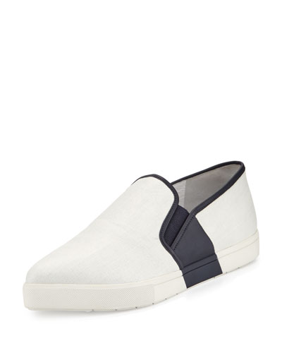 Phalen Pointed-Toe Slip-On Sneaker, Alabaster/Indigo