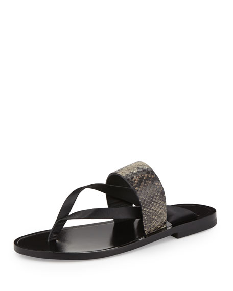 Vince Tala Snake-Embossed Flat Thong Sandal, Black/Natural