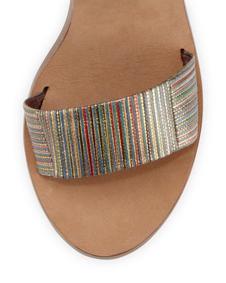 Nava Striped Ankle-Wrap Sandal, Metallic/Multi