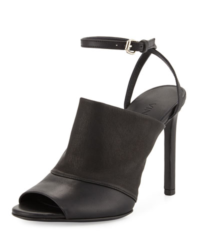 Grace Leather Ankle-Strap Sandal, Black