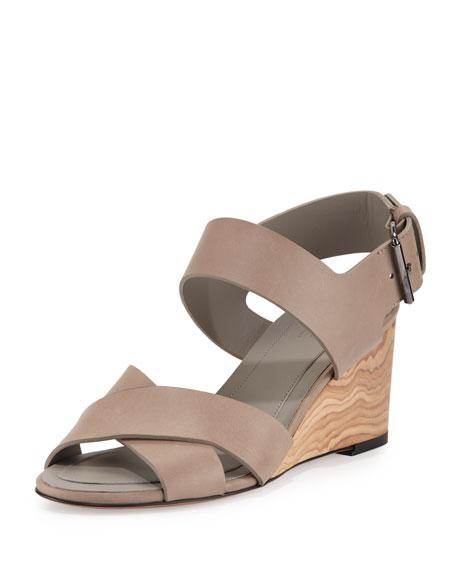 Vince Gwyn Leather Slingback Wedge Sandal, Pumice