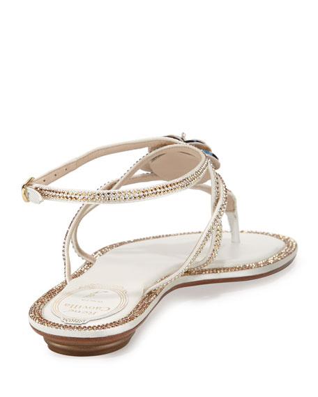 fa5d4329855512 Rene Caovilla Floral Crystal-Trim Flat Thong Sandal