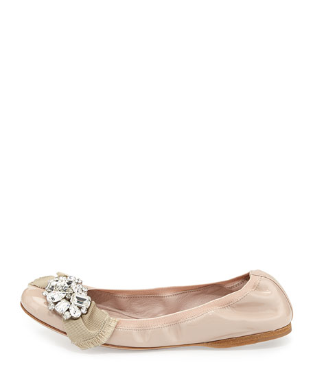 Patent Crystal Ballerina Flat, Cipria