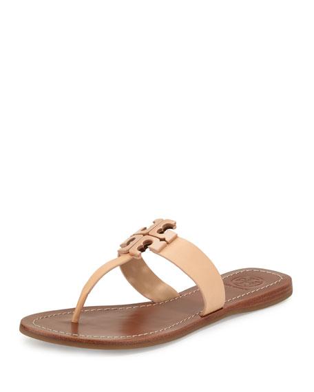 Tory Burch Moore 2 Leather Thong Sandal, Light Oak