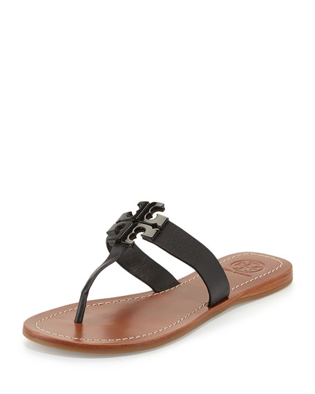 Tory Burch Moore 2 Leather Thong Sandal, Black