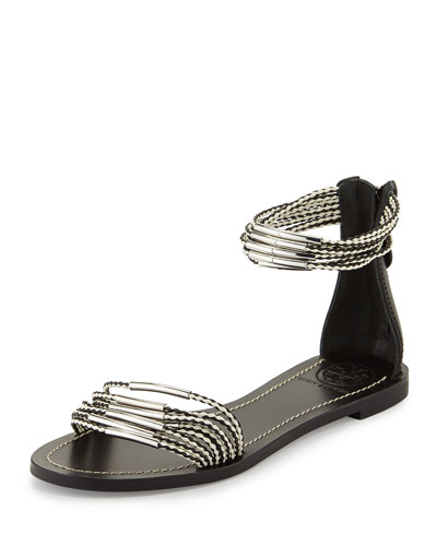 Tory Burch Mignon Braided Flat Hardware Sandal, Black/Ivory
