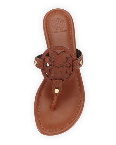 Miller Snake-Embossed Logo Flat Sandal, Brown